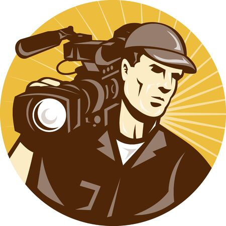 Illustration of a professional cameraman film crew with video movie camera camcorder viewed from front set inside circle with sunburst done in retro style