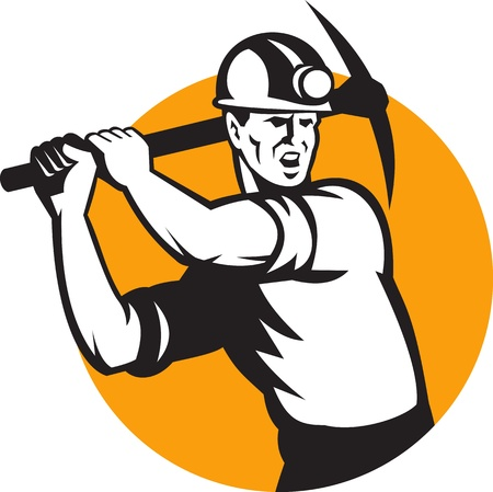COAL MINER: Illustration of a coal miner striking working using pick axe done in retro woodcut style set inside circle  Illustration