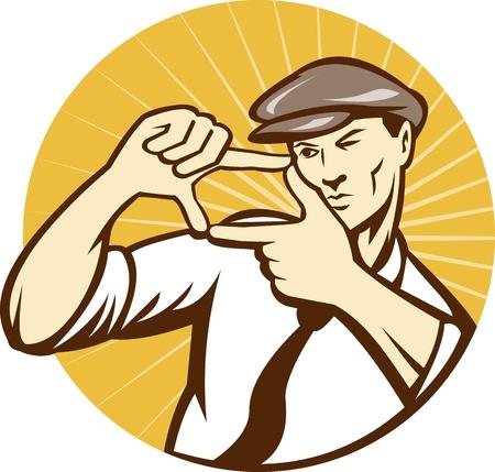 Illustratie van een directeur movie maker framing zijn schot met zijn handen te stellen binnen cirkel gedaan in retro-stijl houtsnede