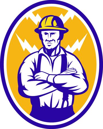 folded arms: Illustration of an electrician construction worker with arms folded and lightning bolt in background set inside ellipse done in retro style
