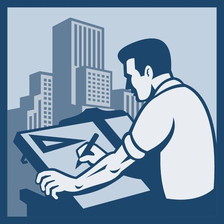 t square: Illustration of an architect drawing drafting with buildings in background done in retro style