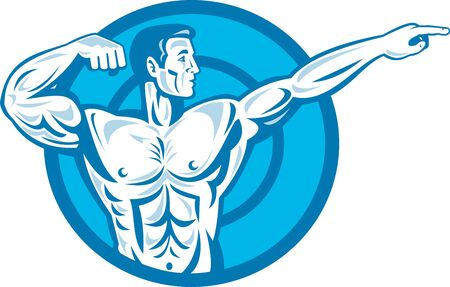 flexing: Illustration of a bodybuilder training exercise flexing muscle pointing viewed from the side set inside circle done in retro style