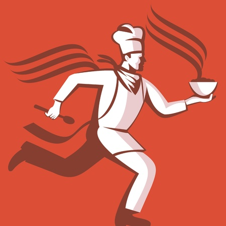 hot soup: Illustration of a chef cook baker running with spoon and bowl of hot food viewed from side done in retro style