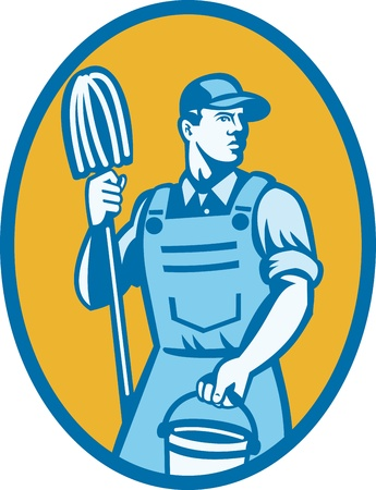mop: Illustration of a cleaner worker carrying cleaning mop and pail set inside ellipse done in retro style