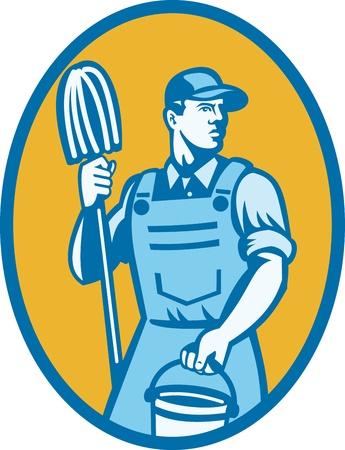 overol: Ilustraci�n de un trabajador de limpieza llevando la fregona y un cubo de limpieza conjunto dentro de elipse hecho en estilo retro