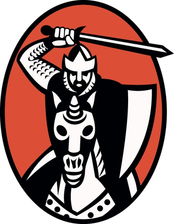 Illustration of a knight templar crusader with sword and shield riding armored horse facing front set inside ellipse  Vector