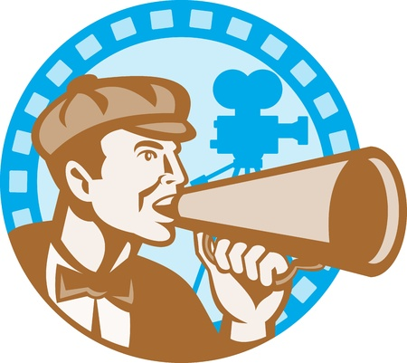 bullhorn: Illustration of a movie director shouting using bullhorn with vintage film video camera set inside circle with film reel done in retro style