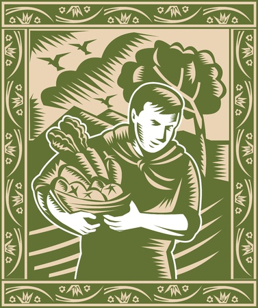 woodcut: Illustration of an organic farmer with basket full of fruits and vegetables done in retro woodcut style