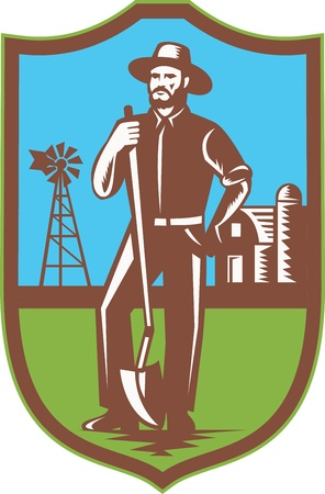 Illustration of a farmer standing leaning on spade shovel with windmill farmhouse barn in background set inside shield done in retro woodcut style