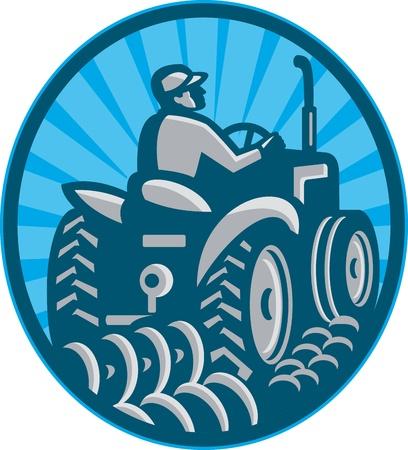 arando: Ilustración de un campesino arando con tractor de la vendimia se ve desde el juego, detrás dentro del óvalo hecho en estilo retro