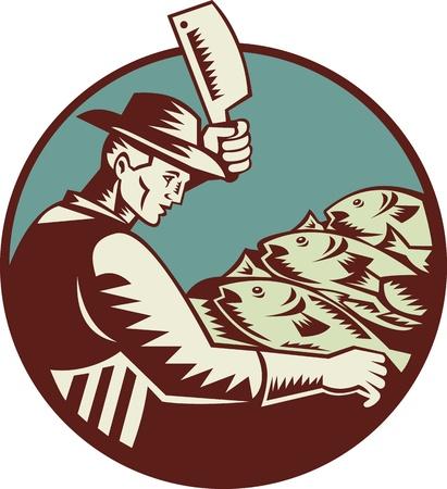 visboer: Illustratie van een visboer slager met vlees hakmes mes hakken vis van opzij gezien set binnen cirkel gedaan in retro-stijl houtsnede