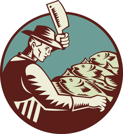 cleaver: Illustration of a fishmonger butcher with meat cleaver knife chopping fish viewed from side set inside circle done in retro woodcut style