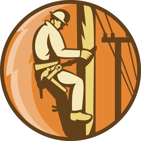 blitz symbol: Illustration einer Leistung lineman worker elektrik Klettern Stromversorger Post mit Blitz Set im Kreis im Retro-Stil getan Illustration