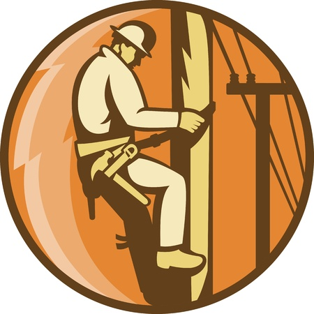lineman: Illustration of a power lineman worker electrician climbing electricity utility post with lightning bolt set inside circle done in retro style
