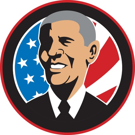sates: Illustration of American President Barack Obama with stars and stripes flag set inside circle done in retro style.