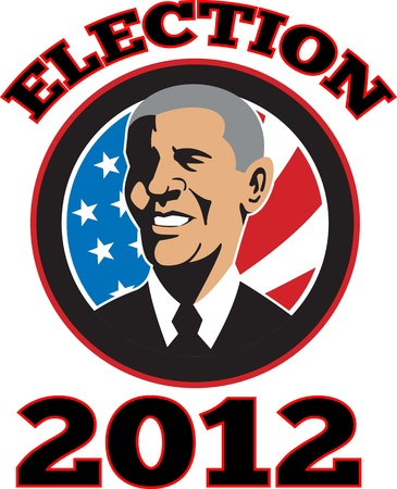 sates: Illustration of American President Barack Obama with stars and stripes flag set inside circle done in retro style with words Election 2012
