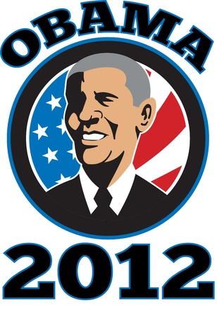 Illustration of American President Barack Obama with stars and stripes flag set inside circle done in retro style and words Obama 2012