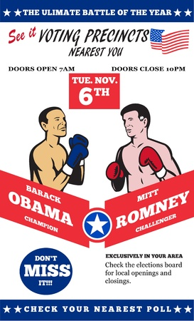pugilist: Cartel ilustraci�n de Presidentes de Am�rica del candidato republicano Mitt Romney y el presidente Barack Obama como protagonista de boxeo con guantes bpxer y las estrellas y la bandera rayas.