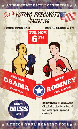 sates: Poster illustration of American Presidential Republican candidate Mitt Romney and President Barack Obama as boxing protagonist with bpxer gloves and stars and stripes flag.
