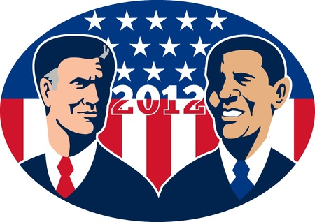 Illustration of American Presidential Republican candidate Mitt Romney and President Barack Obama with stars and stripes flag set inside ellipse done in retro style and words 2012