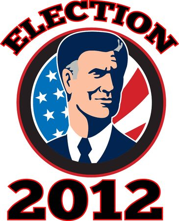 Illustration of American Presidential Republican candidate Mitt Romney with stars and stripes flag set inside circle done in retro style and words Romney 2012