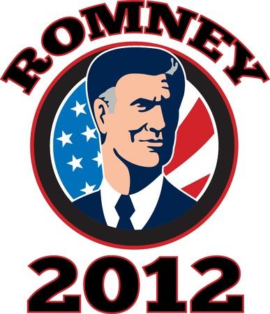 republican: Ilustraci�n de Presidentes de Am�rica del candidato republicano Mitt Romney con estrellas y rayas de la bandera que figuran dentro del c�rculo hecho en estilo retro y las palabras de Romney 2012