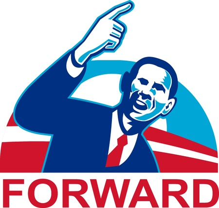 Illustration of American President Barack Obama pointing forward set inside half circle done in retro style with words Forward.