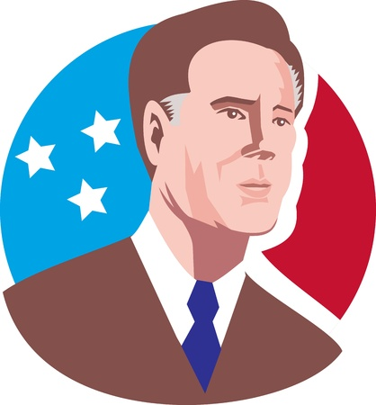 Illustration of American Presidential Republican candidate Mitt Romney with stars and stripes flag set inside circle done in retro style.