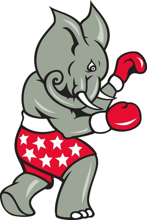 Cartoon illustration of an elephant boxer with boxing gloves and stars shorts as republican mascot  Vector