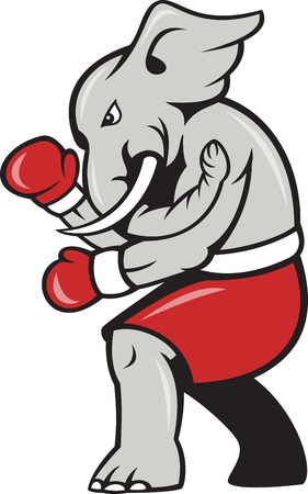 Cartoon illustration of an elephant boxer with boxing gloves and red shorts as republican mascot