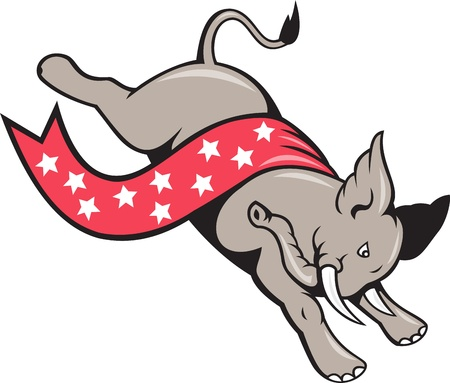 gop: Cartoon illustration of a elephant jumping leaping with stars banner ribbon as republican mascot on isolated white background  Illustration