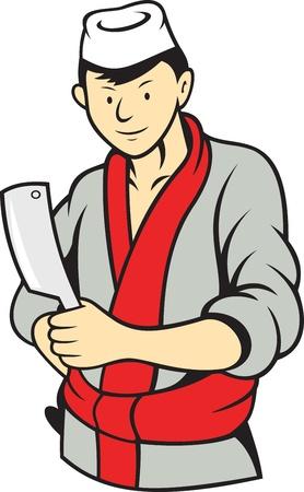 macellaio: Illustrazione di un cutter coltello da macellaio giapponese con mannaia fatto in stile cartone animato