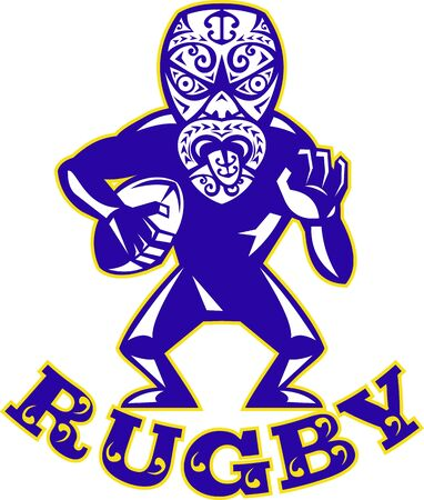 Illustration of a Maori warrior rugby player with mask running with ball facing front on isolated white background  Vector