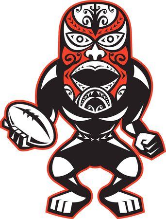 pelota rugby: Ilustración de un jugador de rugby guerrero maorí con la máscara de pie con la pelota al frente en fondo blanco