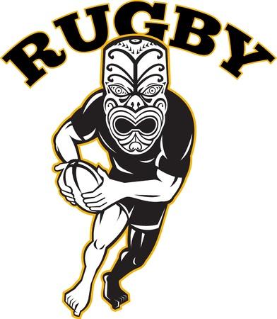 Ilustración de un jugador de rugby guerrero maorí con la máscara de correr con balón frente a frente en fondo blanco aislado