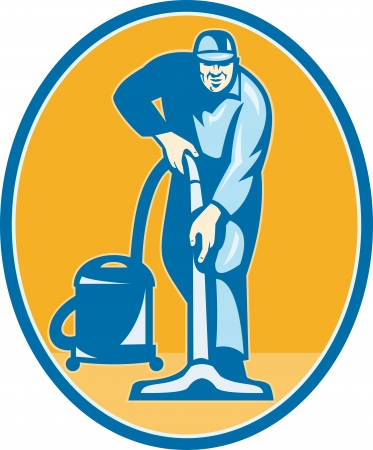 vacuum cleaner: Illustration of a janitor cleaner worker vacuum cleaning facing front set inside ellispe done in retro style.