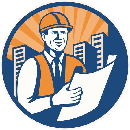 felügyelő: Illusztráció egy építőmérnök építész művezető felügyelő építési terv meg belülről körben végzett retro stílusban. Illusztráció