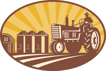 woodcut: Illustration of a farmer driving a vintage farm tractor with barn and silos in background done in retro woodcut style