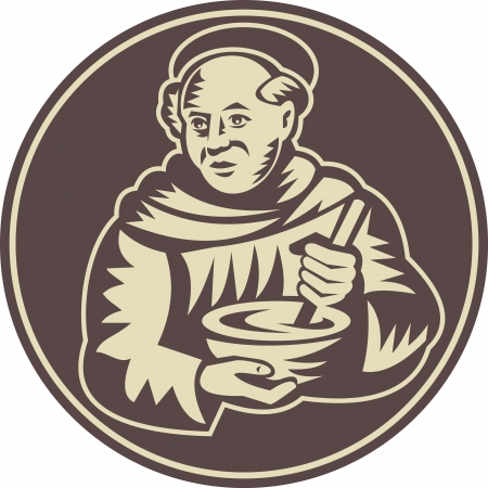 woodcut: Illustration of a friar monk cook with mixing bowl done in retro woodcut style