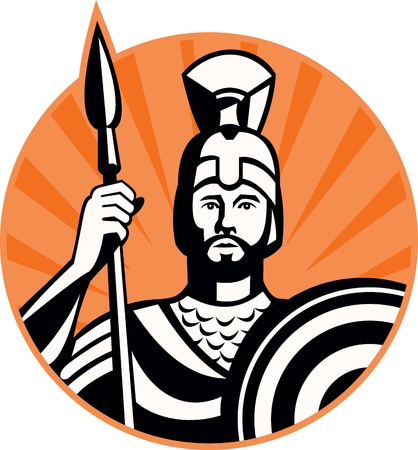 Illustration of a roman centurion soldier fighting with spear and shield done in retro woodcut style set inside circle  Vector