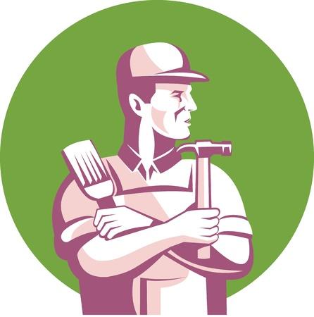 Ilustración de un trabajador de la construcción carpintero con pincel y martillo mirando a otro hecho en el conjunto de estilo retro dentro del círculo