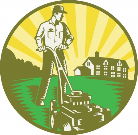 mower: Illustration of a gardener with lawn mower mowing with residential house in background set inside circle done in retro woodcut style