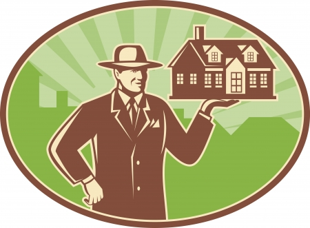 estate agent: Illustration of a realtor real estate agent salesman holding a house for sale done in retro woodcut style set inside ellipse