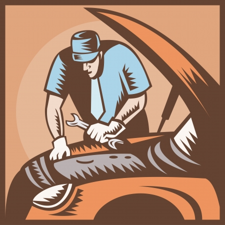 repairman: Illustration of an automobile auto mechanic repair car with wrench spanner done in retro woodcut style