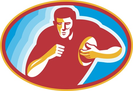 rugby player: Illustration of a rugby player running with ball set inside ellipse done in retro style