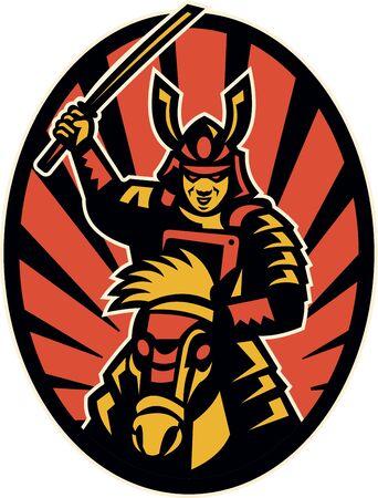 samourai: Illustration d'un guerrier samouraï équitation attaquer avec l'épée katana fait dans la série à l'intérieur de style rétro ellipse