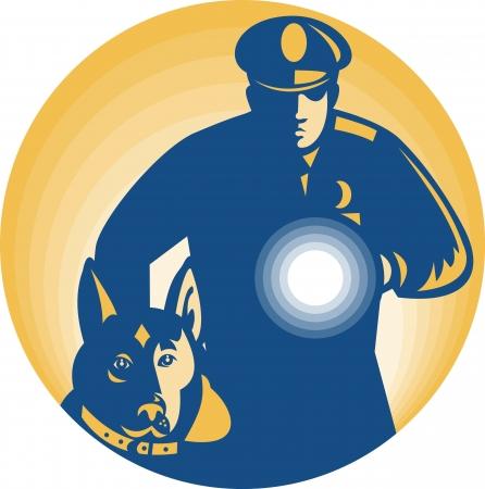 perro policia: Ilustración de un policía de guardia de seguridad con el perro de guardia de la policía y la linterna hacia delante conjunto dentro del círculo hecho en estilo retro