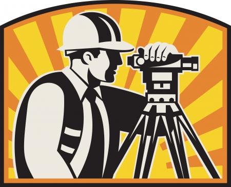 teodolito: Ilustración del perito trabajador de ingeniero de caminos geodésicos con el equipo de estación total con teodolito rayos de sol hecho en estilo retro grabado en madera,