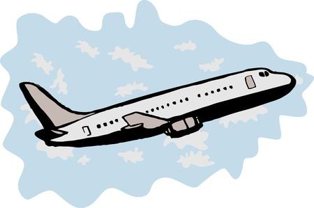 illustration of a commercial passenger jumbo jet airplane taking off