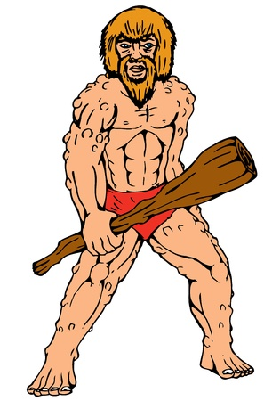 cartoon illustration of a caveman holding club on isolated white background